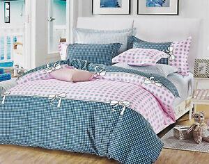 Pink Dots Checks Duvet/Doona/Quilt Cover Set Queen/King/Super King Size M419