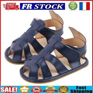 Leather Summer Baby Sandals Solid Color Shoes Prewalker (Dark Blue 12cm)