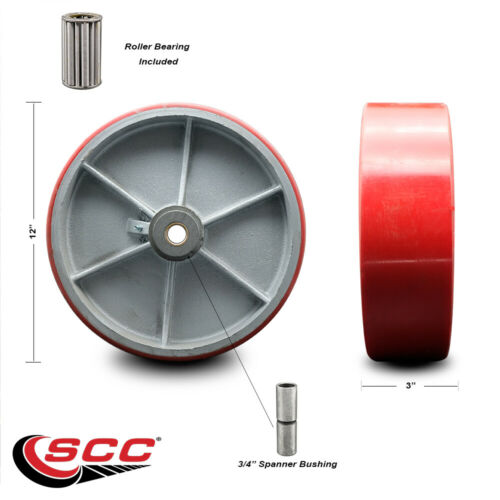 """SCC-12/"""" Red Poly on Cast Iron Wheel Only w//Roller Bearing-3//4/"""" Bore-3500 lb Cpty"""
