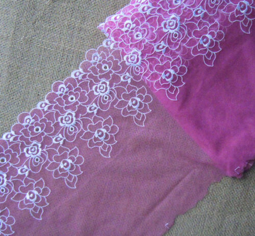 """4.2 Yards 8/"""" Wide Fuschia Mesh Tulle Lace with Embroidered Ivory Flower 761"""