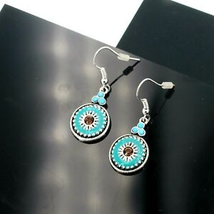 earrings-Silver-Small-Round-Enamel-Turquoise-Green-Vintage-Class-FF2