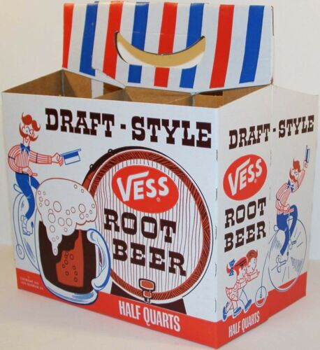 Vintage soda pop bottle carton VESS ROOT BEER 1966 high wheeled bicycle pictured