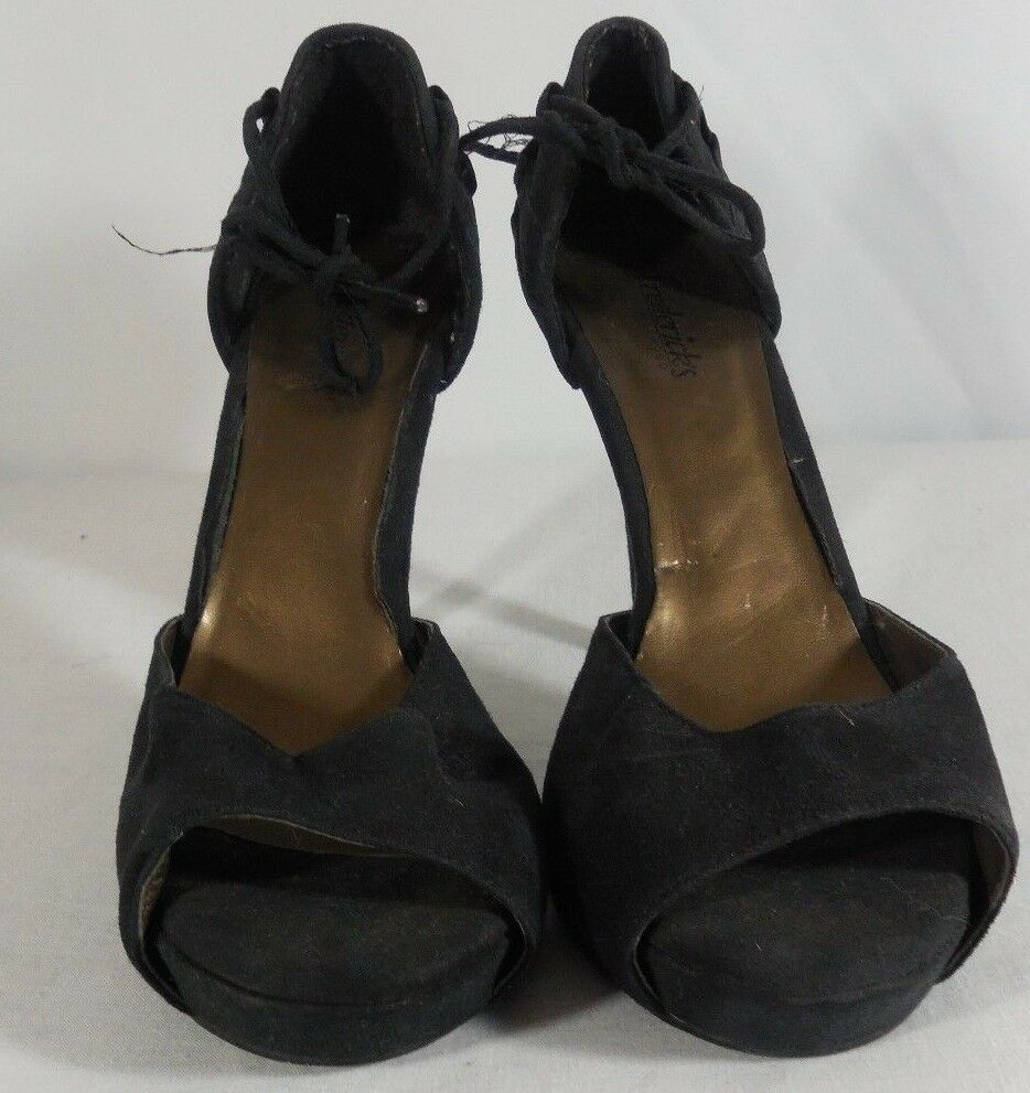 Frederick's in of Hollywood Black Open Toed Stiletto Heels in Frederick's Size 8 1/2 Classics 59338b