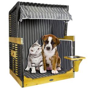 Luxus Hundestrandkorb Hundehutte Anthrazit Hundebett Hundehohle