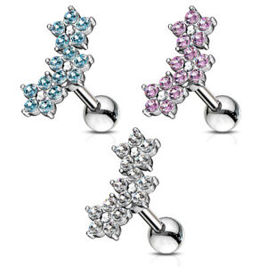 Helix-Tragus-Piercing-Edelstahl-Ohrstecker-Blume-Flower-Silber-Pink-Aqua-Damen