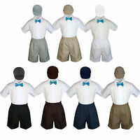 4pc Set Boy Toddler Formal Turquoise Bow Tie White Navy Khaki Shorts+hat S-4t