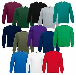 Fruit-of-the-Loom-Herren-Sweatshirt-Raglan-Sweat-Pullover-Plain-Top-Jumper-Pullover