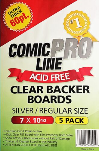 Comic Pro Line 60pt Clear Comic Backer Boards 5-Pack Silver Regular Size