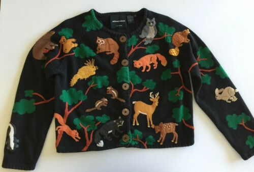 VTG Michael Simon Woodland Forest Animals Sweater