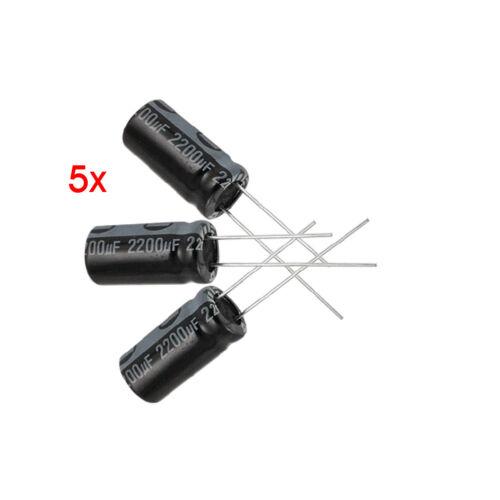 5 x 2200UF 16V 105C Radial bedrahtet Elektrolyt-Kondensator 10x20mm Y5N9