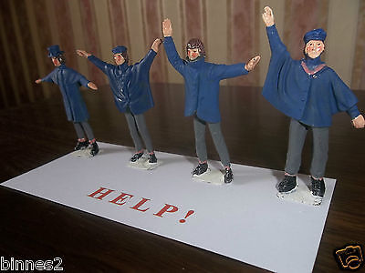 "THE BEATLES ""LEAD"" HAND PAINTED FIGURES ""HELP ! "" WITH BACKING CARD AWESOME !"