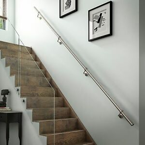 Image Is Loading 1 8mtr Brushed Nickel Metal Wall Mounted Handrail