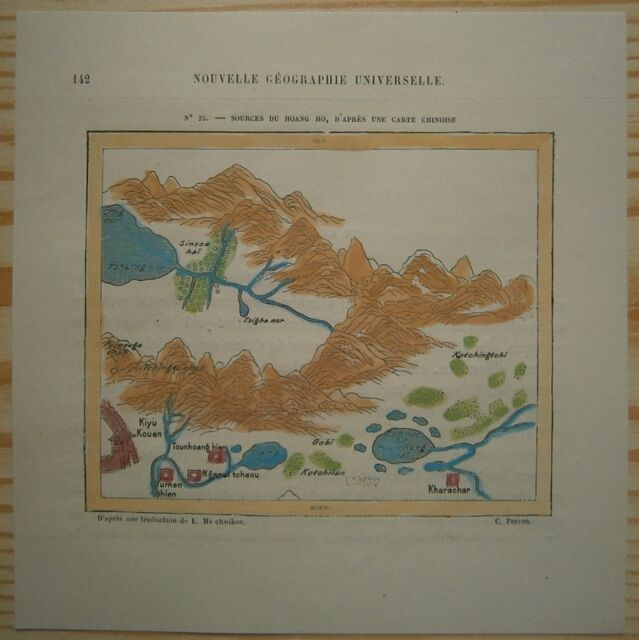 1882 Perron map HEADWATERS OF YELLOW RIVER (HUANG HE), AFTER OLD ...