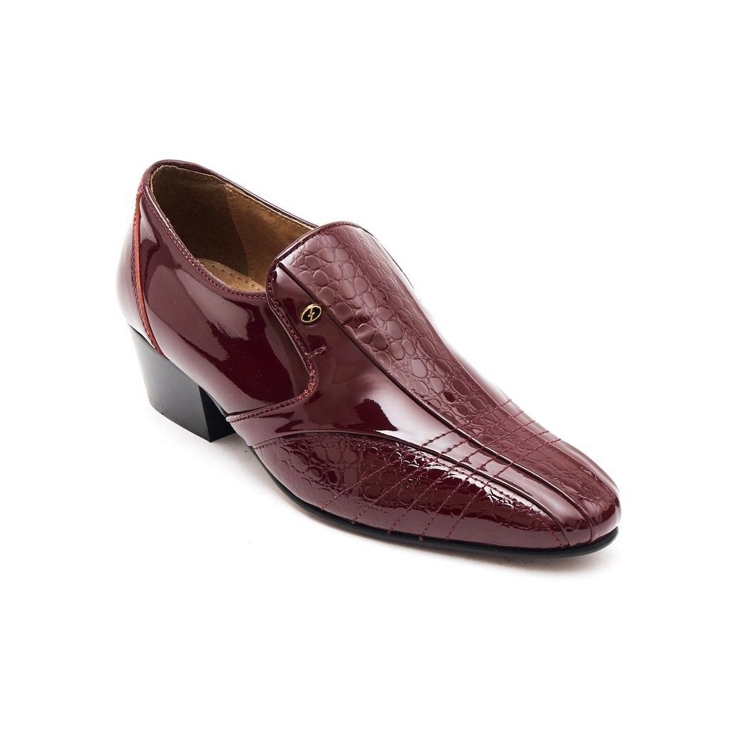 Lucini Mens Formal Cuban Heels Croc Leather Slip On Wedding shoes Bordo Patent