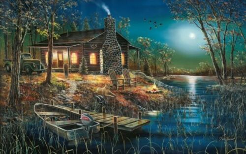 "Jim Hansel After Dark Cabin Boat Art print 28/""W x 19/""H Signed and Numbered"
