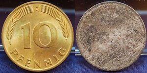 Frg 10 Pfennig D Lack Coinage Single-Sided Reduction Der Wertseite, F. St