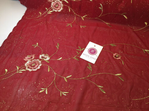 Floral Embroidery With Gold Thread Work Metallic Dewdrop on Georgette m320 SK