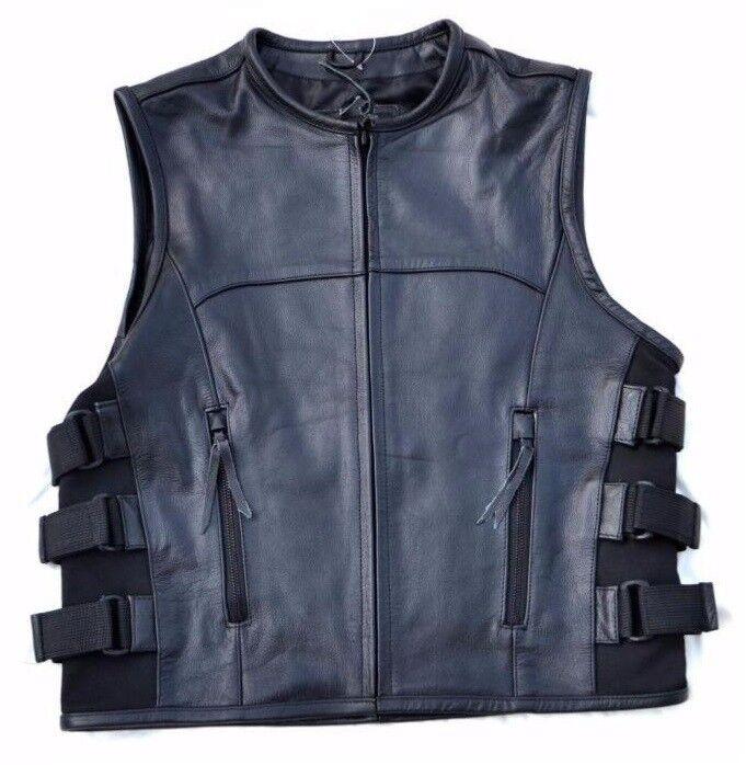 Gilet jacket en Cuir Style Pare Balle SOA - 38 à 48 - leather vest Bullet Style