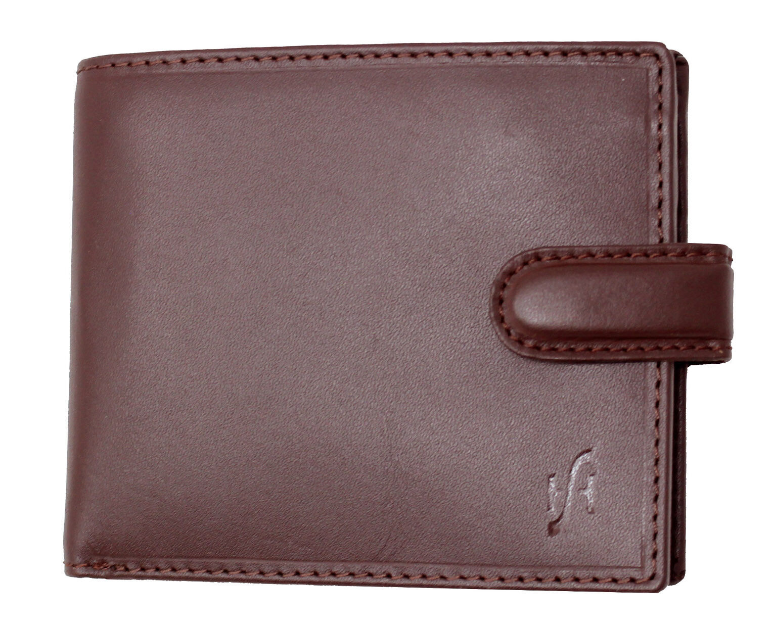 Mens RFID Blocking Soft Leather Billfold Wallet Brown