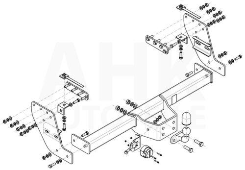 Für Mitsubishi L-200 V 4WD Doppelkabine ab 15 Anhängerkupplung starr+ES 13p spez
