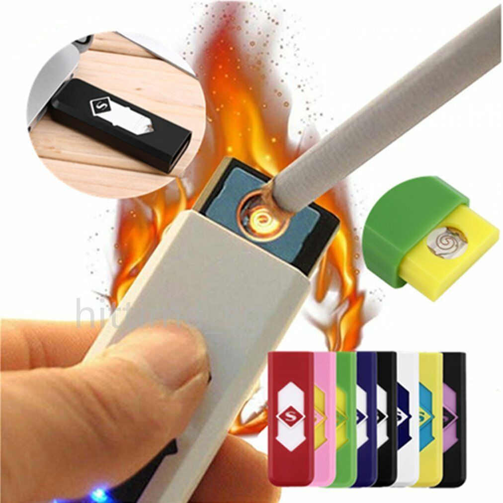USB Electric Battery Rechargeable Flameless Lighter Cigarette Windproof Random