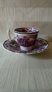 Booth-039-s-Purple-Transferware-Demitasse-cup-and-saucer-set-excellent-RARE