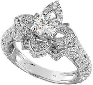 b4a88f45f5476 Details about New Boxed 1.25 ct 925 Sterling Silver Ladies Lotus Flower  Engagement Ring