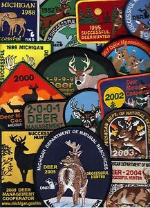 MICHIGAN-DNR-SUCCESSFUL-DEER-HUNTER-PATCHES-15-DIFFERENT-1988-08-BEAR-TURKEY