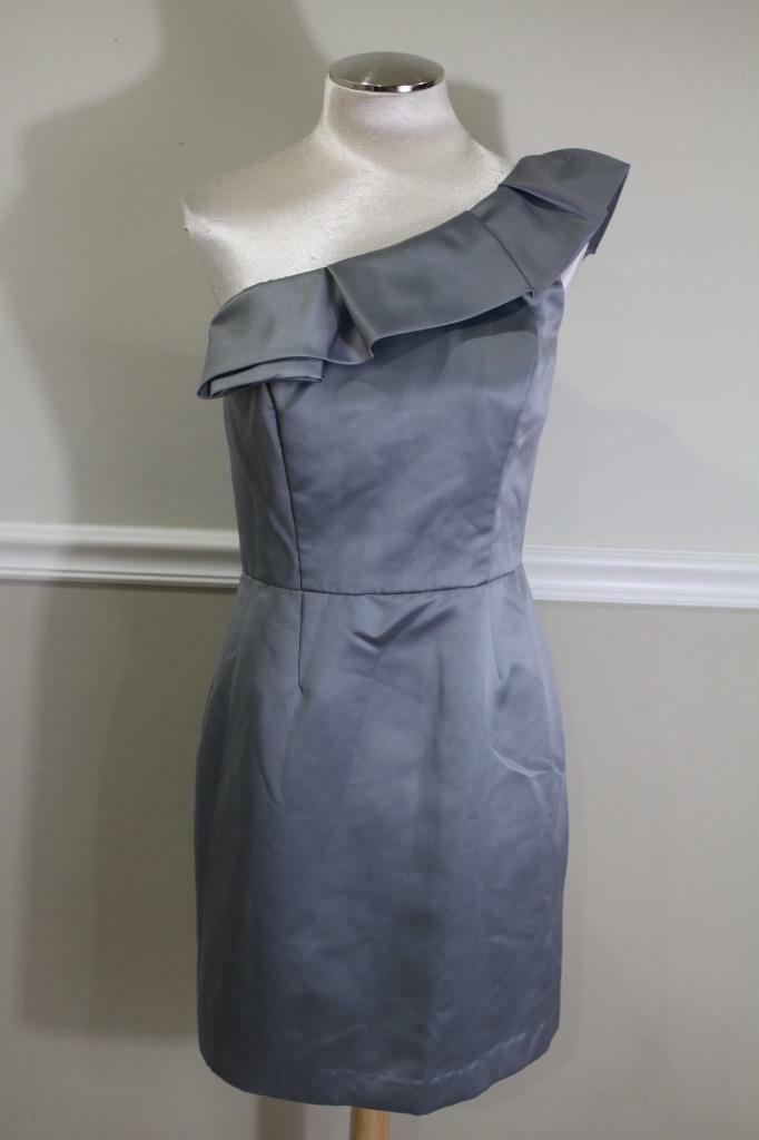 Lela Rose Women's Grey Bridesmaids One Shoulder Dress Size 10 Style LR136 (800