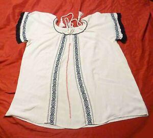 "Folk Peasant Boho Embroidered Blouse cotton XL or 50"" around Vintage BIG Tassels"