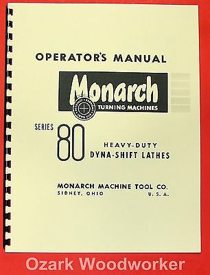 Metal Cutting Provided Monarch 80 Metal Lathe Operator's Manual 0473 To Clear Out Annoyance And Quench Thirst