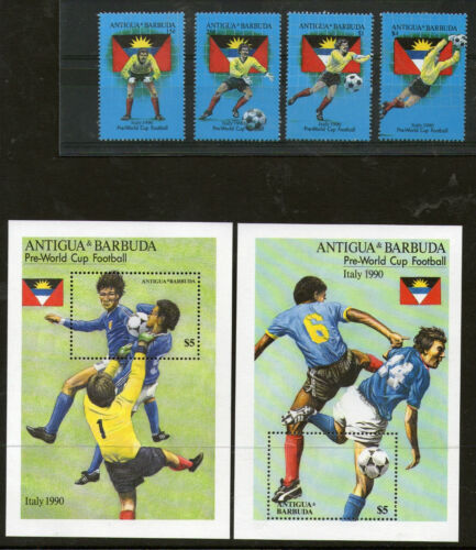 ANTIGUA 1990 ITALY FOOTBALL WORLD CUP SET & BOTH MINIATURE SHEETS MNH