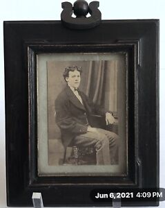 Original Antique Mission Arts and Crafts Small Picture Frame W/ Sepia Photograph