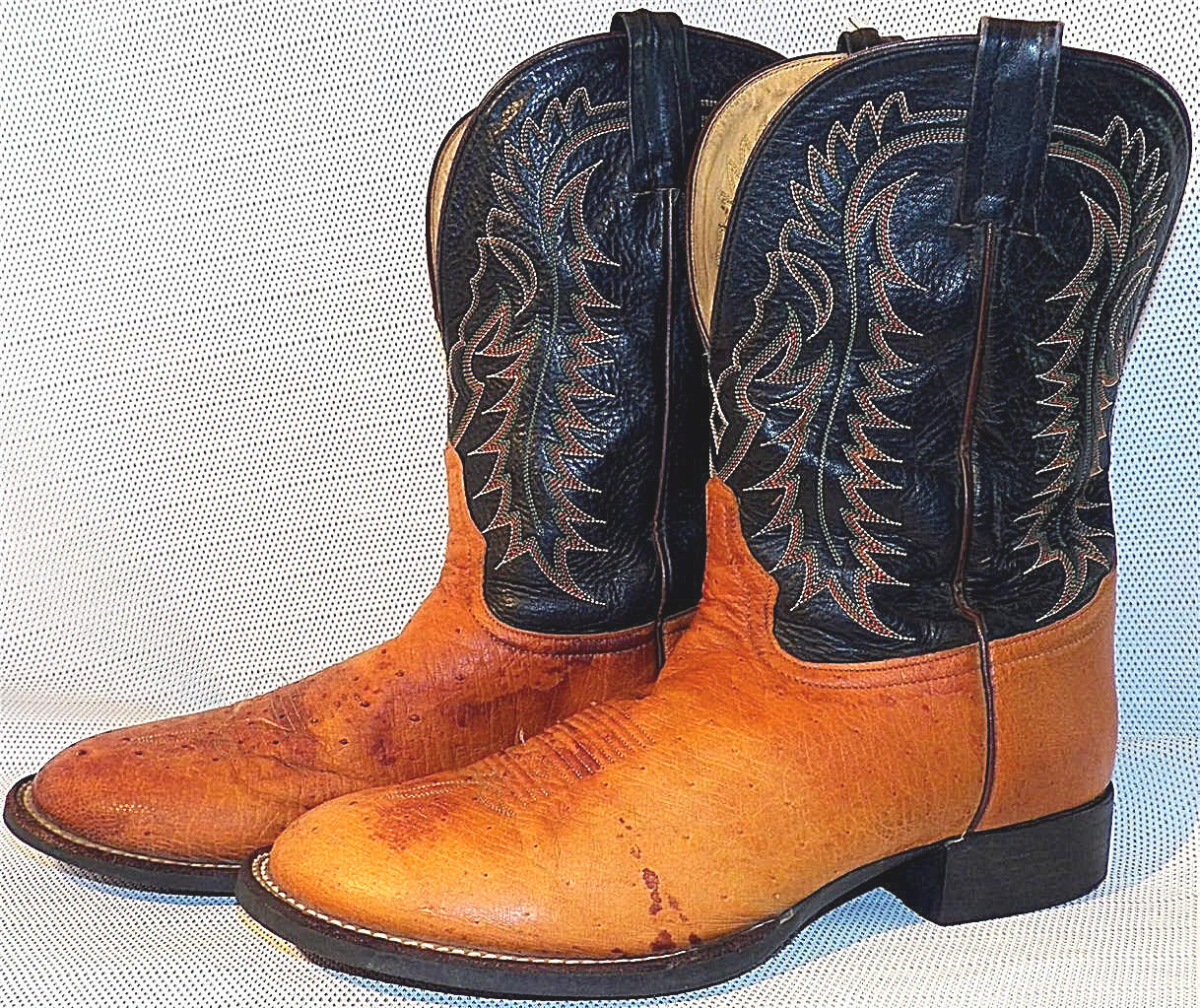 Tony Lama Almond Rust Smooth Ostrich Roper Rubber Sole Cowboy Boots 11-1/2 D
