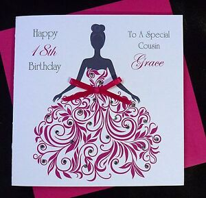 Personalised Handmade Birthday Card Pink Dress 16th 18th 21st 30th