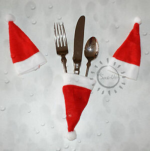 Details Zu 4x Bestecktasche Santa Weihnachten Tischdeko Nikolaus Socke Geschenk Basteln De