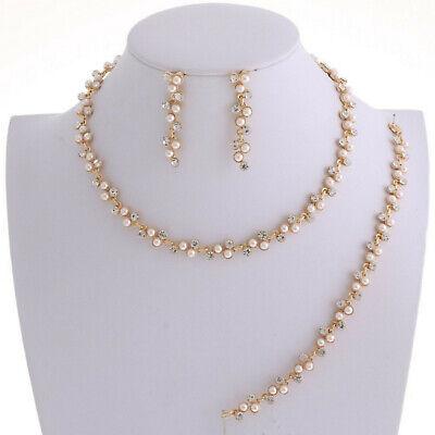 Brautschmuck Schmuckset Gold Kette Armband Ohrringe Kristall Klar Perlen Weiß   eBay