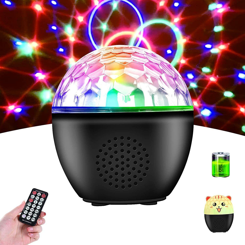 Disco Ball Lights Rotating, BIRUI 16 Colors Strobe Light Portable Sound Activate