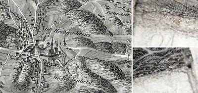 Alte Landkarte 19 Jhd. Heiligenkreuz & Klausen Leopoldsdorf Feine Verarbeitung