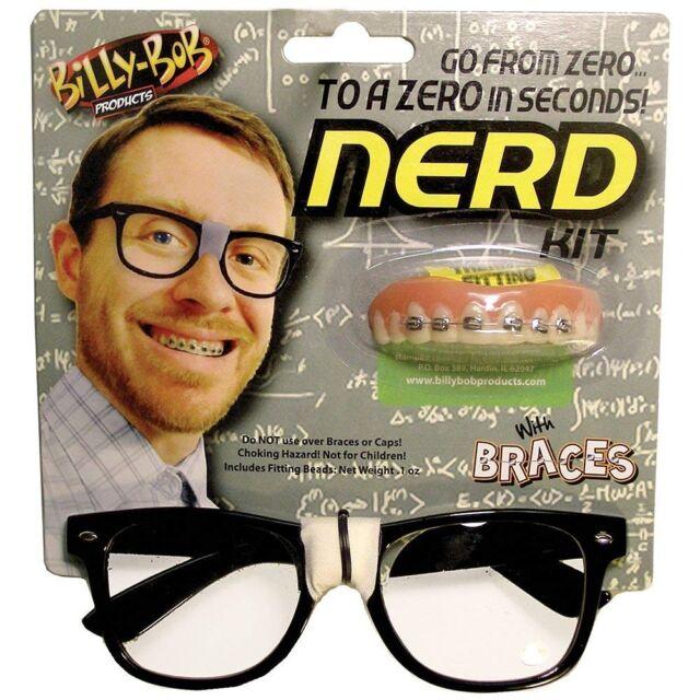 Billy,Bob\u0027s NERD KIT , GLASSS \u0026 FAKE BRACES TEETH , Geek Dork Halloween  Costume