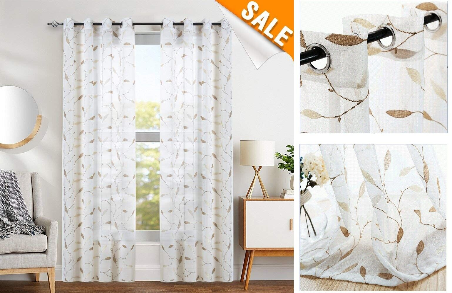 White French Do Curtains F Living Room Floral Embroidery Semi Sheer Curtains F B For Sale Online Ebay