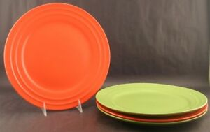 4 Rachael Ray Double Ridge Dinner Plate Plates Orange Green VGC | eBay