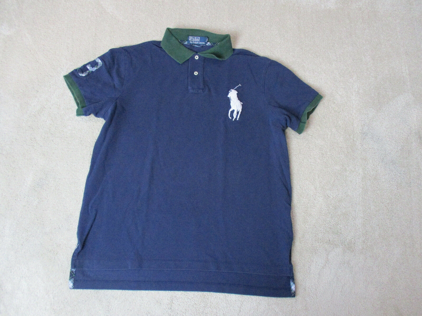 Ralph Lauren Polo Shirt Adult Large bluee Green Plaid Big Pony Rugby Casual Mens