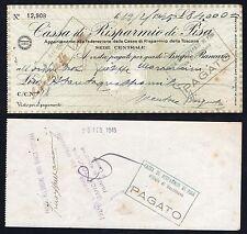 Assegno lire 84.000 Cassa di Risparmio di Pisa 1945