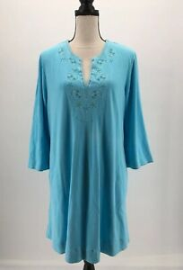 Lilly-Pulitzer-Womens-Dress-Tunic-A-Line-Blue-XL-Embroidered-Cotton-3-4-Sleeves
