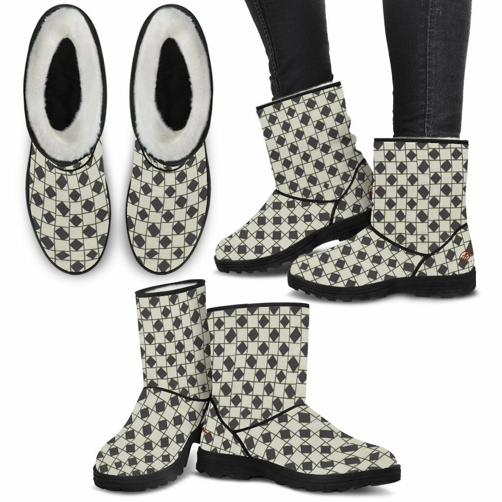 Faux Fur B&W Checkerboard Checkerboard Checkerboard Boots 749760