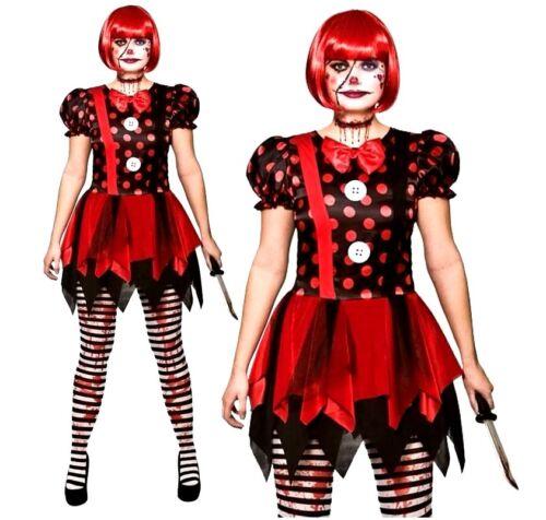 Femmes deluxe horreur clown démon halloween velor fancy dress costume uk 6-20