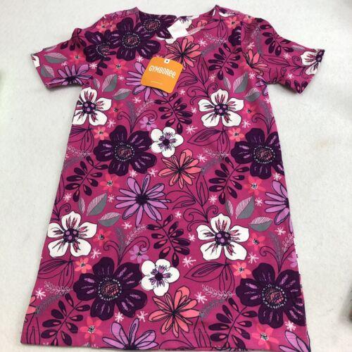 NEW Gymboree Girls Fuschia Flower Print Shifty Dress Cotton Short Sleeves 60/'s