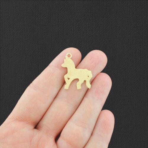 4 Unicorn Gold Tone Enamel Charms E851