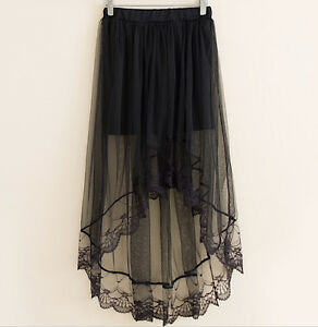 Mini Gonna Donna Tulle Lungo Trasparente Asimmetrico Woman Tulle Skirt 130037 P